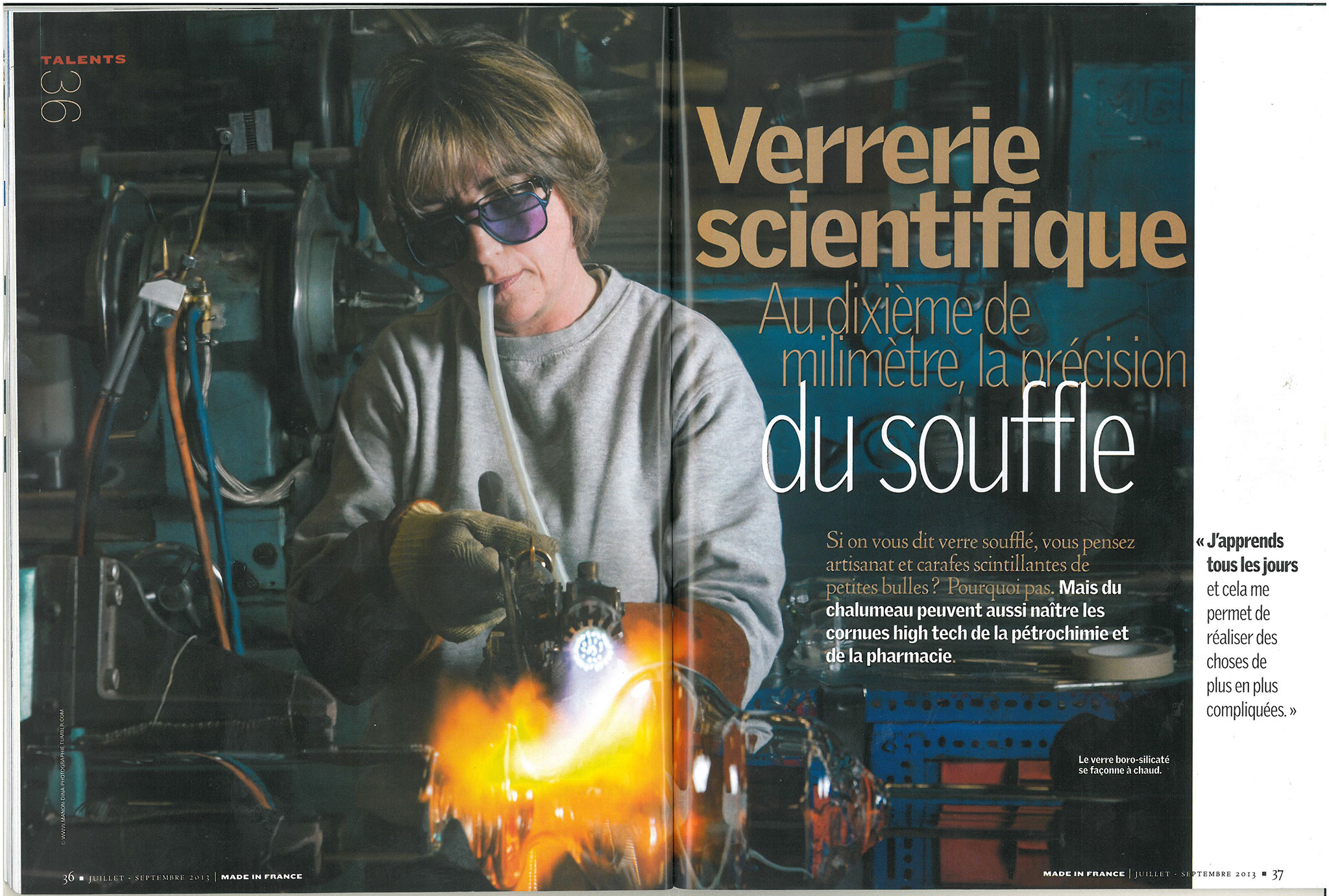 verrerie, scientifique, science, verrerie, souffleur de verre, verre, souffleur, precision, femme, meilleur ouvrier de france, ouvrier, industrie, usine, Jonage, industrialisation, industrielle, lyon, agglomeration,grand lyon, reportage, photo, studio le carre, reportage photo, journalisme, couverture, magazine, made in france, beatrice garranas, parution