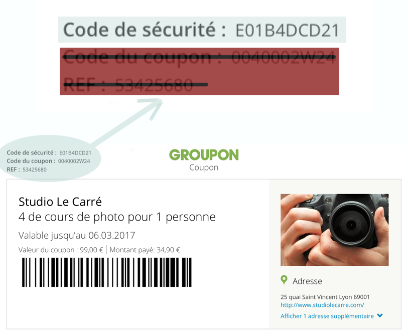 Groupon, coupon, code de sécurité, Toulouse, Photographe Toulouse, cours de photo toulouse, stage de photo toulouse, Studio Le Carre