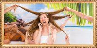 Femme se faisant tirer les cheveux par ses copines sur la plage, lyon,fun et décalée