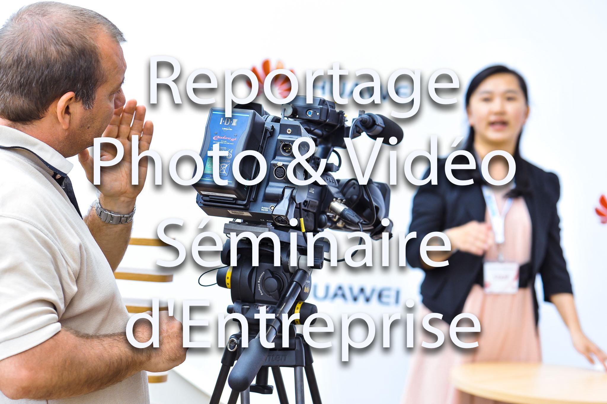 Prestations de reportage photo et reportage vidéo pour événement et séminaire d'entreprise | Caméra vidéo reportage événémentielle | Photocall pour soirée événementielle et séminaire