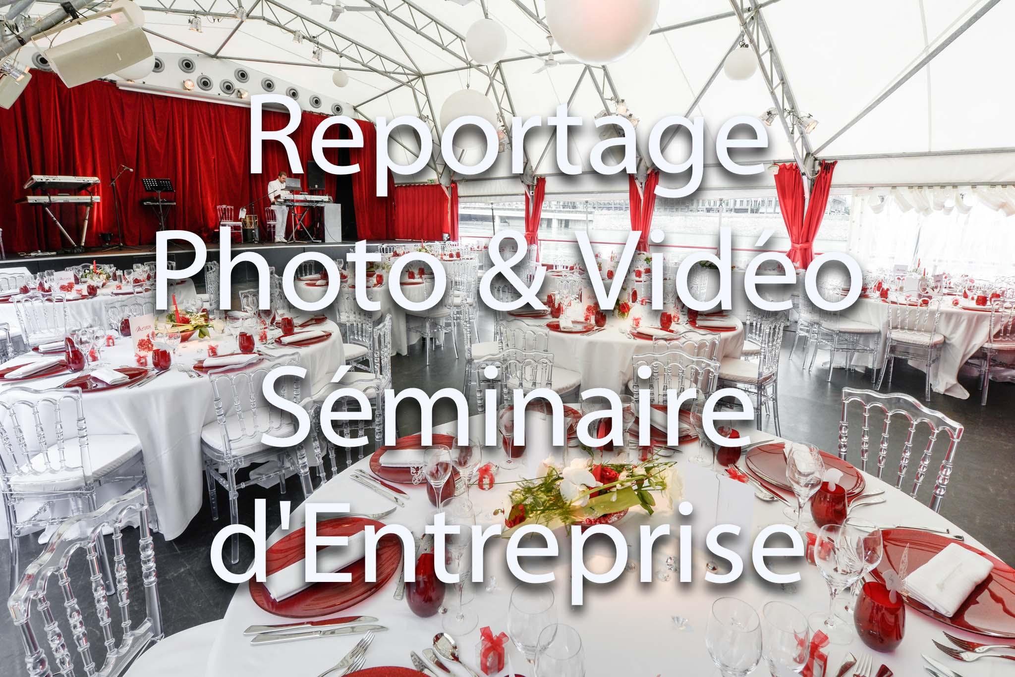Prestations de reportage photo et reportage vidéo pour événement et séminaire d'entreprise | repas et cocktail | Photocall pour soirée événementielle et séminaire