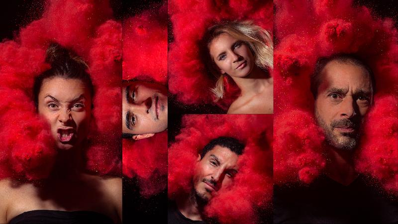 Photo equipe du studio le carre lyon portrait avec poudre colore